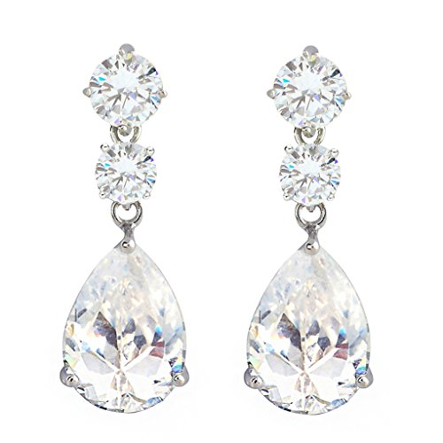 SELOVO Vintage Style Round Pear Teardrop Clear Bridesmaid Drop Earrings Silver Tone
