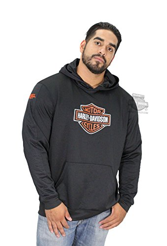 Harley-Davidson Mens Good Work B&S Synthetic Fleece with Mesh Pullover Black Long Sleeve Hoodie - LG