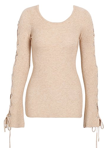 Missy Chilli Women's Lace up Ribbed Knitted Slim Fit Pullover Sweater Top Knitwear (Apricot,0-10)