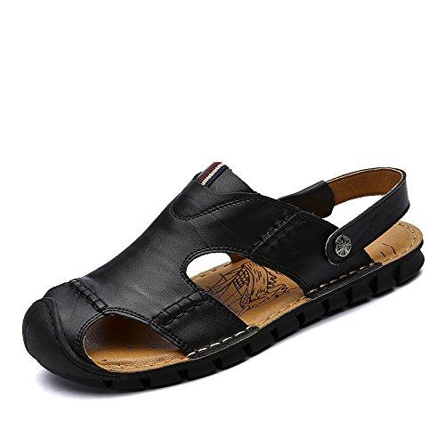 Xing Lin Sandalias De Hombre Baotou Duraderas Zapatillas De Hombres Sandalias Zapatos De Doble Uso Playa Zapatos Zapatos Zapatos De Cuero Patio Exterior black