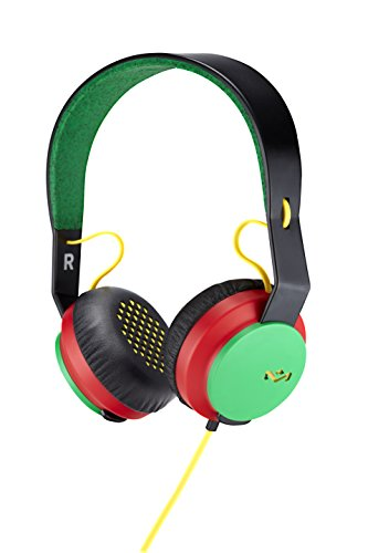 Rasta Single (House of Marley, Rebel On-Ear Wired Headphones - In-line Microphone with 1-button Remote, Single Sided Cable, Powerful 40mm Driver, Competitive Acoustic Performance, EM-FH041-RA Rasta)