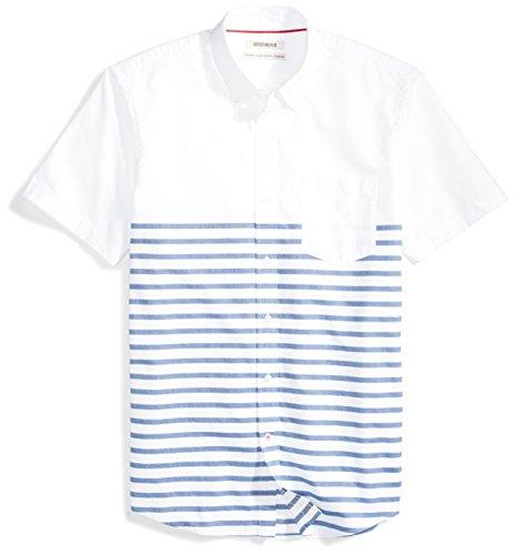 Fit Blue Stripe - Goodthreads Men's Standard-Fit Short-Sleeve Placed-Stripe Pocket Oxford Shirt, White/Blue Stripes, Large