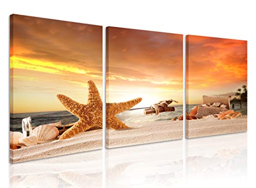 Scene Framed Beach - Natural art Starfish on The Beach Sunset Scene of Ocean Pictures for Bathroom Wall Decor Sea Landscape Paintings Art Canvas Framed 12x16 Inch 3 Panels
