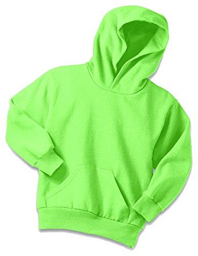 (Port & Company Boys' Pullover Hooded Sweatshirt L Neon Green)