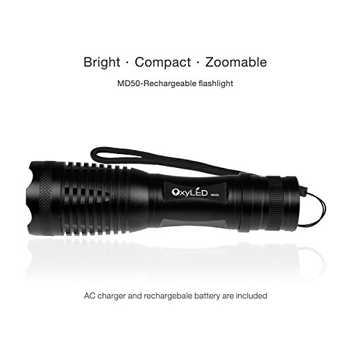 OxyLED OxyWild MD50 Super Bright LED Flashlight Bundle with Rechargeable Batteries, AC Charger, Charging Base and White Tube, Black