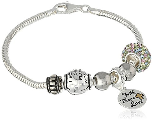 CHARMED BEADS Sterling Silver Faith Hope Love Bead Charm Bracelet, 7.5″
