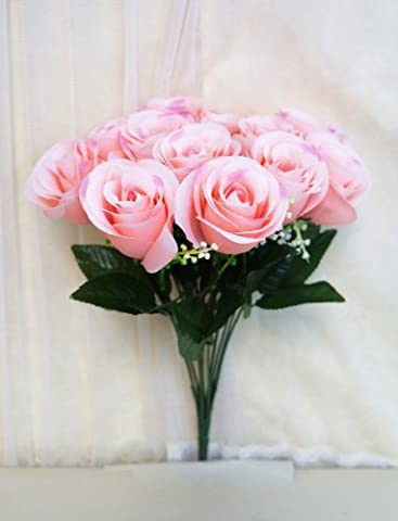 Sweet Home Deco 14'' One Dozen Sweet Roses Silk Artificial Bouquet Pink (12 Stem/12 Flower Heads)(valentine's Day/wedding/home Decorations) - One Stem