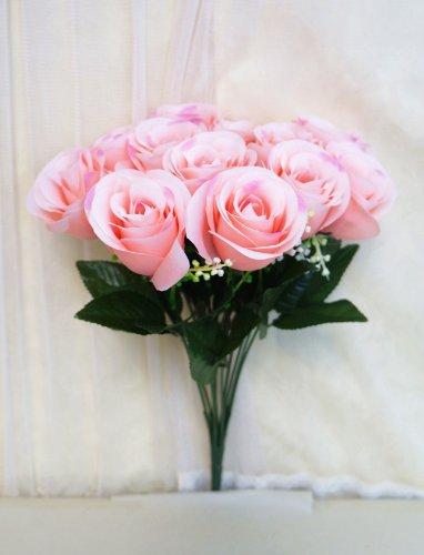 Sweet Home Deco 14'' One Dozen Sweet Roses Silk Artificial Bouquet Pink (12 Stem/12 Flower Heads)(valentine's Day/wedding/home Decorations) (Pink)