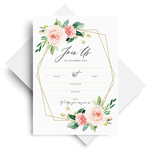25 Join Us Invitations with Envelopes, Bridal Shower Invites, Baby Shower, Birthday, Wedding, Baptism — Geometric Blush Floral, Coral and Greenery Watercolor Fill-in Style invites (25 Pack)