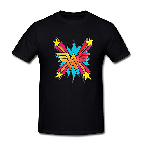 Drong Men's Wonder Woman Colorful Logo T-Shirt S Black