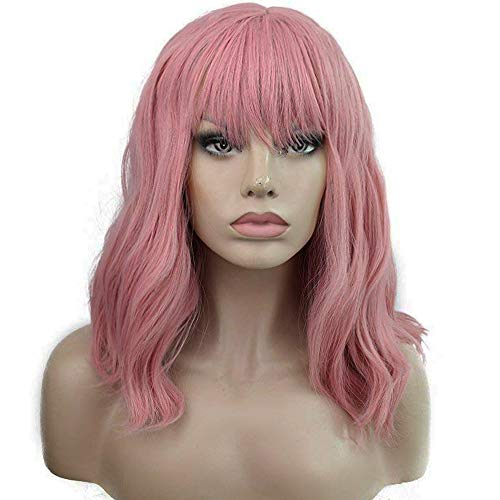 ANOGOL Hair Cap+Costume Halloween Cosplay Wig Bob Short Natural Wavy Pink Full Replacement Wigs with Bangs Women Fancy Dress Hair -