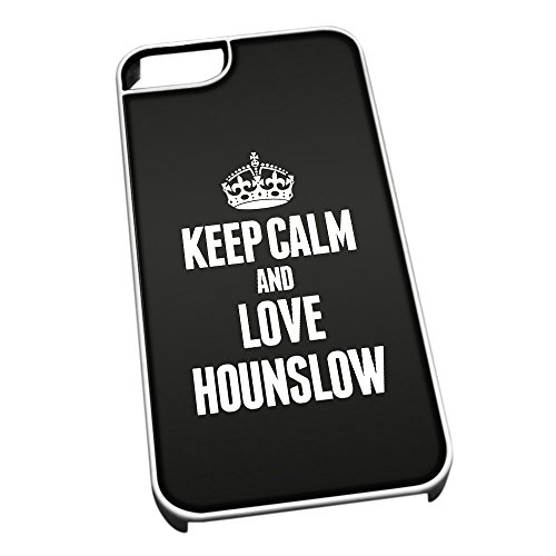 Bianco cover per iPhone 5/5S 0344 nero Keep Calm and Love Hounslow