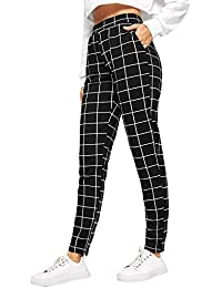 Women's Casual Plaid Leggings Stretchy Work Pants