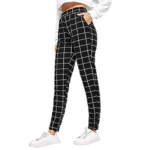 SweatyRocks Women's Casual High Waist Skinny Leggings Stretchy Work Pants