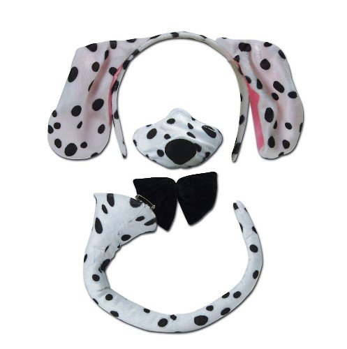 Dalmatian Dog Animal Fancy Dress Accessory Kit With Sound (Dalmatian Costume Ears And Tail)