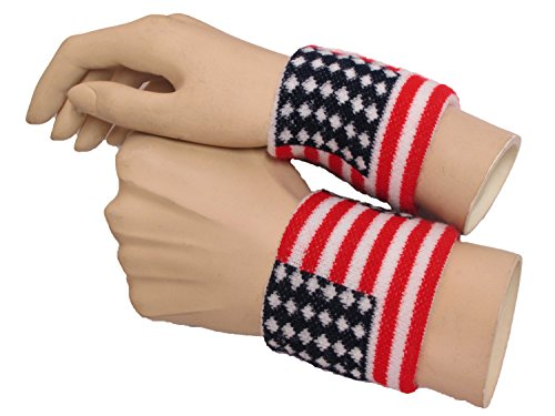 Couver American Flag Stripes and Stars Wristbands - 1 Pair