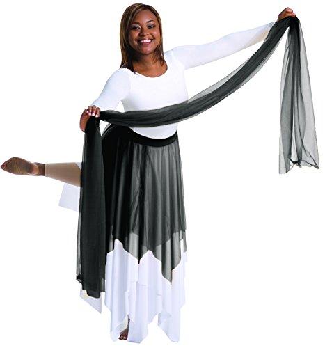 Body Wrappers Big Girls UNEVEN HEM SKRT 0539 -BLACK S-M