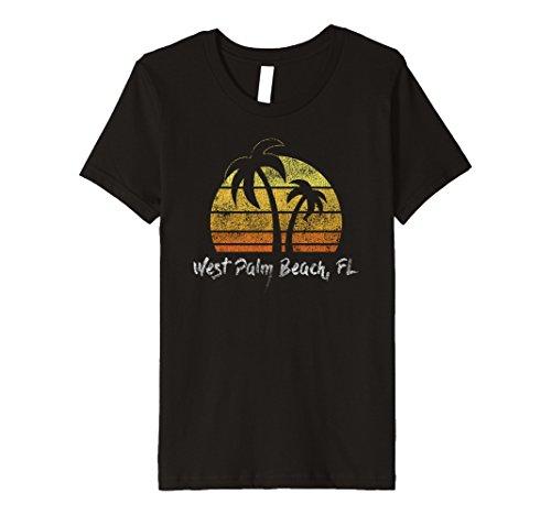 Kids Premium Retro West Palm Beach Florida Beach T-Shirt 12 - Beach Fashion West Palm