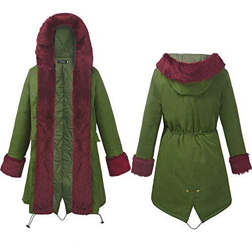 Long Rouge Femmes En Léopard Coton Manteau Femme Pour Capuche Amuster Fourrure À IPvqYBw