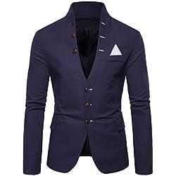 Men Casual Jacket,ONLT TOP Men's Autumn Slim Coat Long Sleeve Blouse Suit Blazer Tops Navy