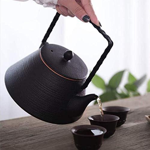 BXU-BG ティーポット、ティーケトル1.5Lティーポット調理用黒の陶器ティーポット、暖炉