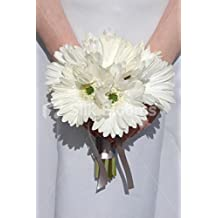 Off White Real Touch Gerbera Wedding Small Bridal Bouquet