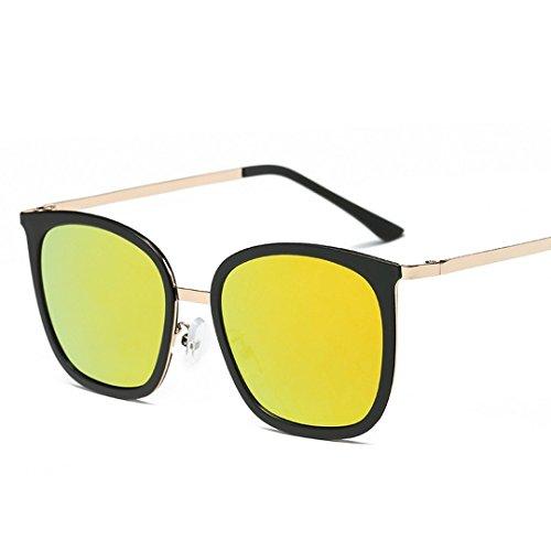 Sol JUNHONGZHANG De De Gafas comprimidos Moda Marco Bastidor negro De Marco Comprimidos naranja Metal Gafas Sol Bastidor Naranja del Grande Gafas Gafas Señoras De Sol Negro vEarwqEY4x
