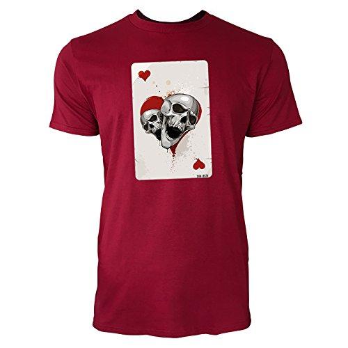SINUS ART ® Herz Ass Karte mit Totenköpfen Herren T-Shirts in Independence Rot Fun Shirt mit tollen Aufdruck