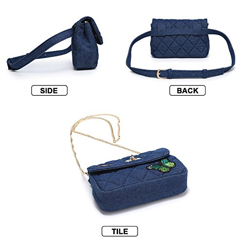 Bag Women Blue Bag Butterfly Badiya Elegant Waist Quilted Denim Fanny Crossbody Pack SUxqt