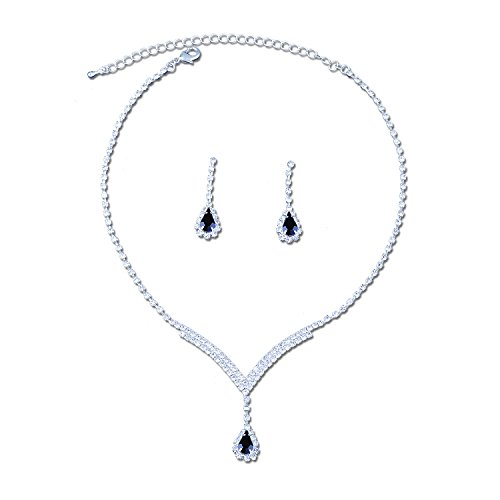 Topwholesalejewel Silver Crystal Rhinestone V Neck with Dangle Jet Teardrop Necklace and Matching Drop Earrings Jewelry (Jet Crystal Necklace)