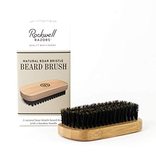 Rockwell Beard Brush – Natural Boar Hair Bristles, Premium Bamboo Handle & Travel Pouch – Supports a Healthy Beard and Moustache