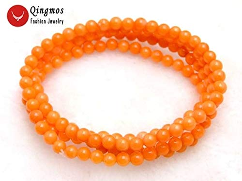 Gabcus Round Natural Red Coral Bracelet for Women with 5-6mm Coral 30