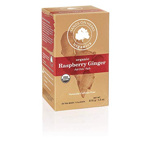 Hands on Herbs Organics Raspberry Tea with Ginger | Delicious Pairing of Red Raspberry Fruit and Ginger root | Aromatic Warming Herbal Tea | Organic Cold Weather Remedy 25 individual tea bags (1 box)