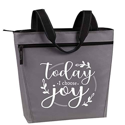 Cute, Religious Zippered Tote Bag for Women - Today I Choose Joy Gray Christian Church Gifts (Choose Joy Gray) -