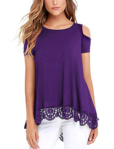 UUANG Cotton Spandex Soft Lace Bottom High Low Hem Tops for Women Purple