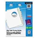Avery Products - Avery - Worksaver Big Tab Extrawide Dividers, Clear Tabs, Eight-Tab, 9 x 11, White - Sold As 1 Set - 50% more printing space for tab titles than traditional tab dividers. - Special tab design allows easy insertion and removal, but keeps i