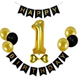 CC Shop Happy Birthday Banner Number One Balloon Baby 1st B-Day Party Decor (Black Gold)