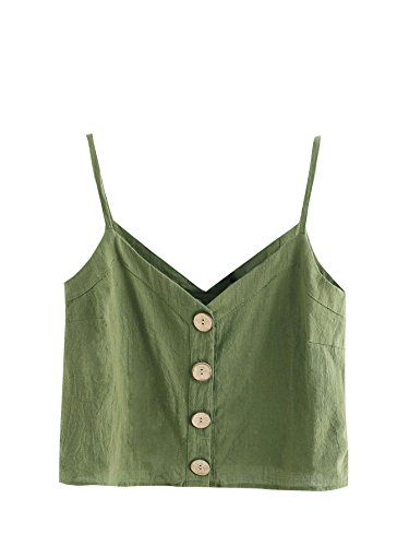 SheIn Womens Casual V Neck Solid Color Button up Crop Cami Top