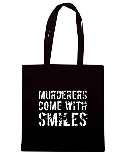 OLDENG00593 SMILES Shopper MURDERERS Shirt Borsa Nera WITH Speed q0xRUwU