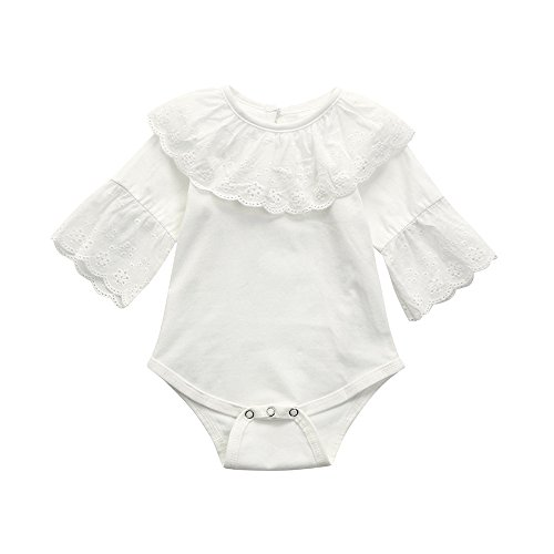 Birdfly Toddler Baby Girls Vintage Eyelets Lace Rompers Infants Long Sleeve Bodysuit Onesies Clothes (6M, White) Eyelet Romper