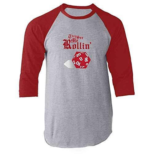 (They See Me Rollin D20 Red XL Raglan Baseball Tee Shirt)