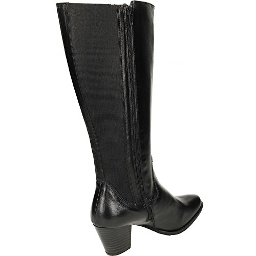 Boots Leather Plus Wide Buxton Fitting Comfort Stretchy Black Women's wzCqfaaxt
