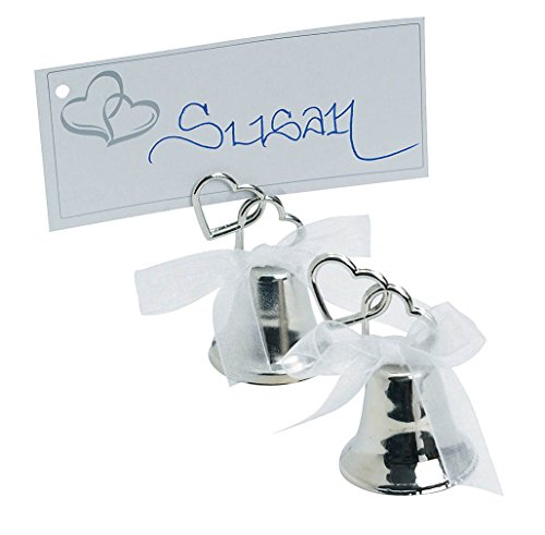 Double Heart Place Card Holder - 24 Silver Metal Place Card Holder Kissing Bell Wedding Two Heart Table Decor Lot
