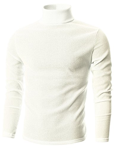 Ohoo Mens Slim Fit Narrow Ribbed Cotton Blend Turtleneck Pullover/DCP026-IVORY-2XL