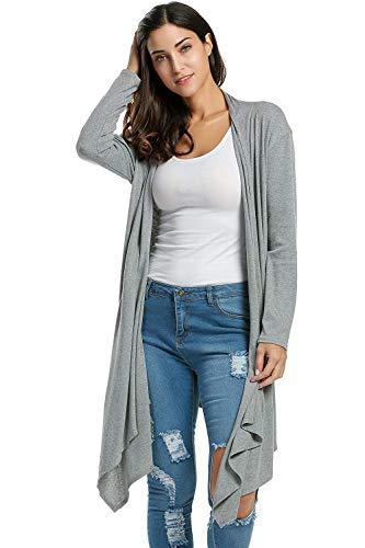 Donna Giacca Giovane Pullover Outwear Giubotto Moda Stile Monocromo Autunno Modern Grau Confortevole A Irregular Manica Pieghe Lunga Casual Maglia rC1qwEC