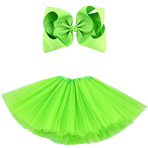 BGFKS 5 Layered Tulle Tutu Skirt for Girls with Hairbow and Hairties, Ballet Dressing Up Kid Tutu Skirt (Yellowish Green, 2-8 Years -