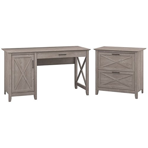 Bush Furniture Key West 54W Computer Desk with Storage and 2 Drawer Lateral File Cabinet in Washed Gray