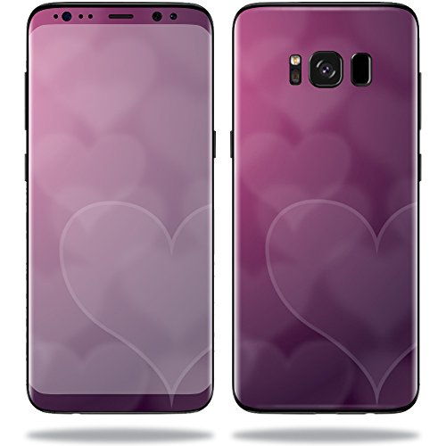 MightySkins Protective Vinyl Skin Decal for Samsung Galaxy S8 sticker wrap cover sticker skins Purple Hearts (Skin Heart Heart)