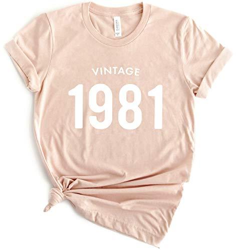 40th Birthday Shirt Vintage 1981 Womens Short Sleeve Casual 80s T-Shirt Top