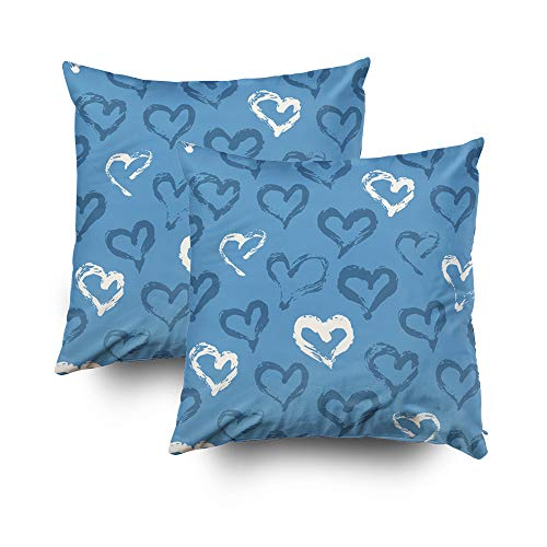 GROOTEY Best, Square Pillow Covers with Zip Couch Sofa Décor Heart Pattern Painted Ink Graphic Element Scrapbooking Baby Room Wallpaper Web Site Backdrop B 16X16 2 Pack Throw Cushion